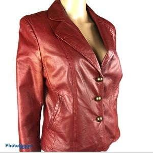 90s BOUTIQUE OF LEATHERS Y2K red lambskin jacket